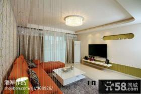 现代风格时尚三居室客厅电视背景墙效果图