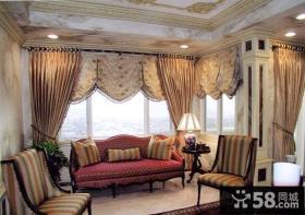 别墅客厅装饰窗帘效果图