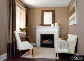 欧式风格二居客厅壁炉电视背景墙效果图