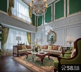 美式别墅挑高客厅效果图