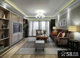 美式新古典风格客厅电视背景墙装修图2014
