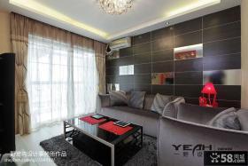 客厅沙发瓷砖背景墙窗帘效果图