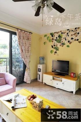 田园小客厅电视背景墙效果图