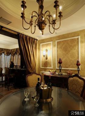 美式新古典风格餐厅餐桌玻璃桌面效果图