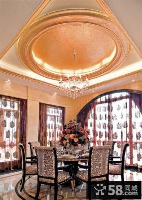 欧式餐厅圆形吊顶装修图片
