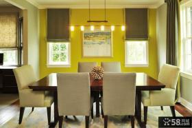 后现代风格餐厅黄色背景墙装修效果图