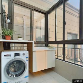 现代封闭式洗衣房阳台装修