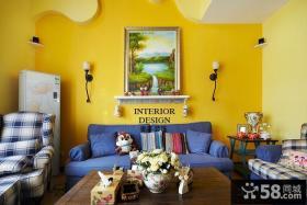 暖色调客厅沙发背景墙装饰画图片