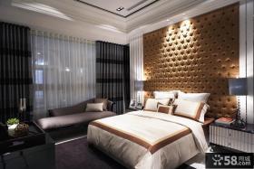 现代风格卧室床头软包皮背景墙图片