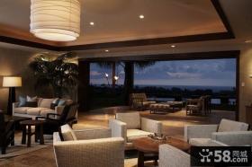 美式风格四居室客厅阳台飘窗装修效果图大全2014图片