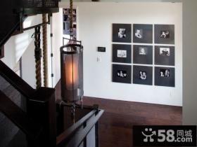 楼梯转角照片背景墙创意吊顶装修效果图