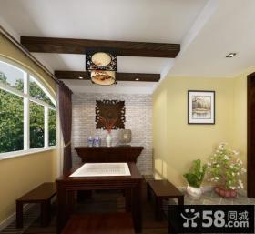 中式阳台墙面装修设计效果图