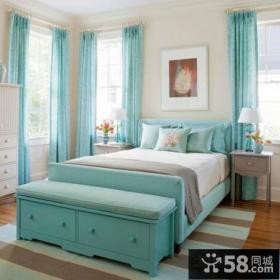 50平小户型蓝色清新的卧室装修效果图大全2012图片