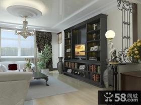 现代简约客厅吊顶造型装修设计效果图