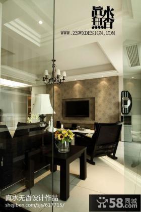 客厅电视背景墙玻璃门隔断家庭装修效果图