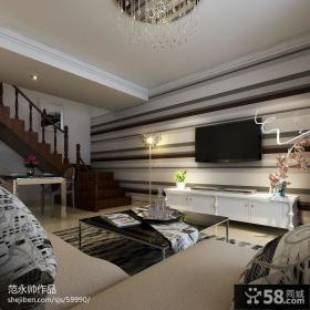现代风格复式楼客厅条纹电视背景墙效果图欣赏