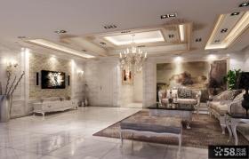欧式别墅客厅电视背景墙装修效果图片