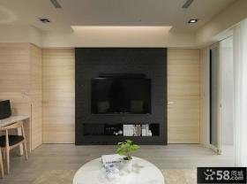 简约客厅简易电视背景墙装修图片