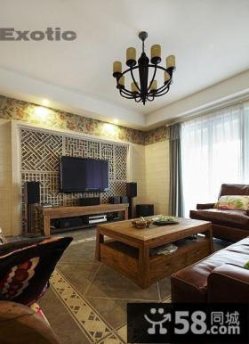 美式客厅电视背景墙造型装修设计