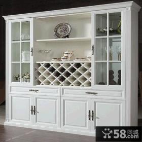 北欧风格纯色优雅线条实木酒柜