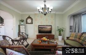 家装美式风格客厅电视背景墙效果图