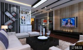 黑与白 装修风格 后现代客厅餐厅隔断效果图