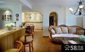 美式田园风格两室两厅家居设计装修效果图