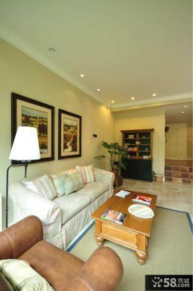 田园风格小复式客厅沙发背景墙效果图