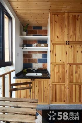 实木吊柜阳台装潢