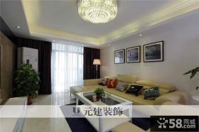 现代风格客厅米色真皮沙发图片