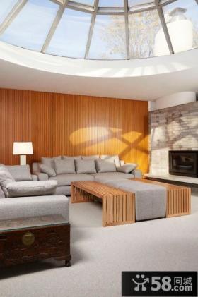 简约现代风格客厅沙发背景墙装修效果图