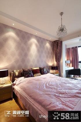 现代风格卧室床头壁纸背景墙效果图片欣赏