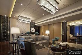 现代中式客厅家具摆放效果图