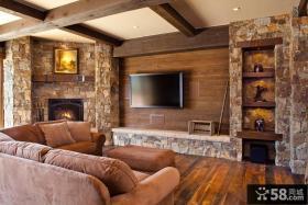 美式乡村室内装修电视墙效果图