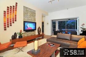 80后艺术家复式楼客厅电视背景墙装修效果图