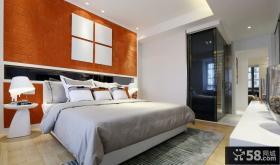 现代卧室床头背景墙图片欣赏