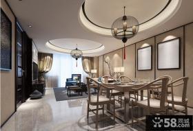 中式风格客餐厅圆形吊顶效果图