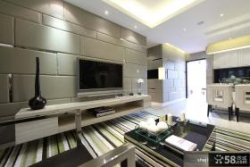 现代风格客厅软包电视墙造型装修效果图