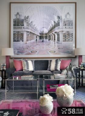 法式风格客厅沙发背景墙装饰画效果图