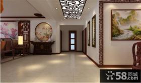 中式三室两厅两卫装修效果图 玄关走廊吊顶设计