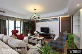 简欧风格客厅电视机背景墙装修效果图片