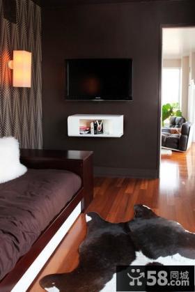 卧室深色调电视背景墙装修效果图大全2012图片