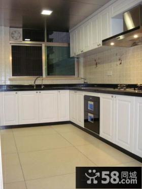L型厨房白色整体实木橱柜设计