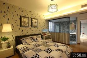 现代风格卧室床头背景墙装修效果图