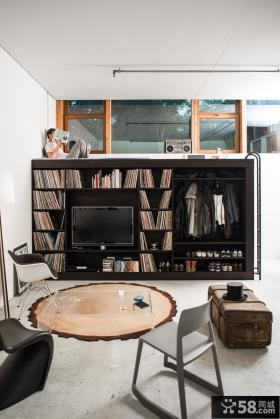 小户型客厅书架电视柜效果图