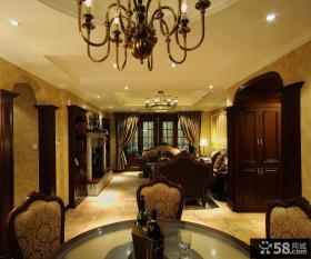 美式新古典风格餐厅连客厅装修效果图