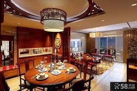 中式古典的四居室餐厅装修效果图大全2012图片