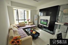 现代装修风格客厅电视背景墙效果图片