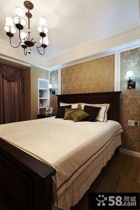 美式风格卧室床头壁纸效果图
