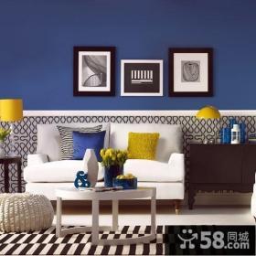小户型现代风格客厅沙发背景墙装修样板间装
